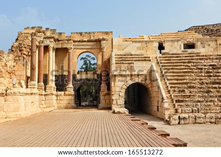 Ruins of amphitheater in the ancient Roman city. Bet Shean. Israel.