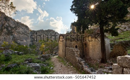Ruins of an ancient church, in the rugged mountains outside of Kotor, Montenegro