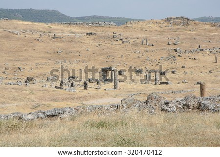 Ruins of an ancient city of Hierapolis, Pamukkale, Turkey - stock photo
