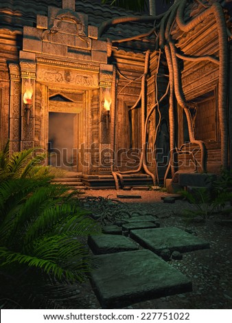 Ruins of an ancient fantasy temple at night - stock photo