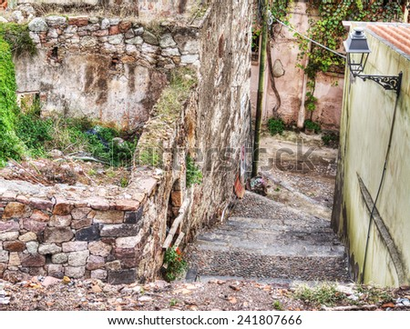 ruins of an old building in a small village. Shot in Bosa, Italy - stock photo