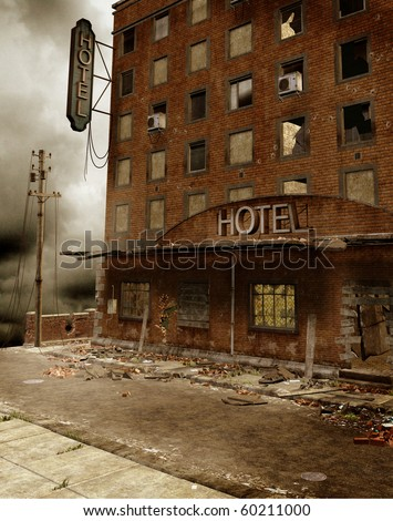 Ruins of an old hotel - stock photo