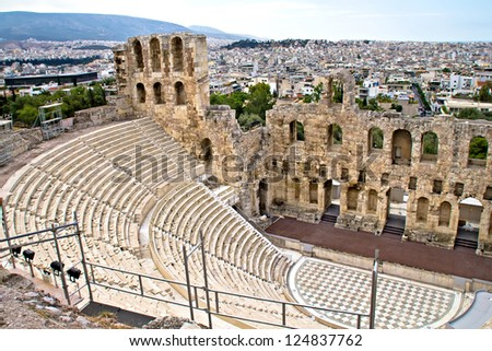 Ruins of ancient amphitheater at Acropolis hill, Athens, Greece - stock photo