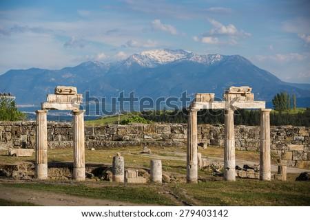 Ruins of ancient Hierapolis, Pamukkale, Turkey - stock photo