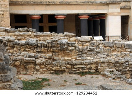 Ruins of Ancient Knossos in Crete island outside Heraklion in Greece - stock photo