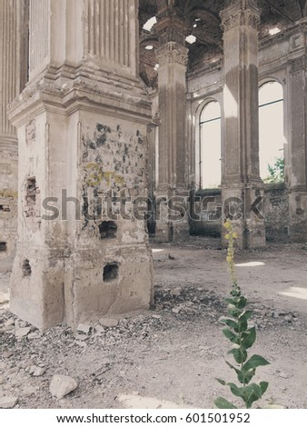 Ruins of ancient Lutheran church in Odessa, Ukraine. Historic building in 1803 built first German settlers destroyed by vandals of proletariat during revolution in Russia in 20th century.