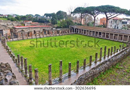Ruins of Ancient Roman city of Pompei, Italy. Pompei was destroyed and buried with ash after Vesuvius eruption in 79 AD - stock photo