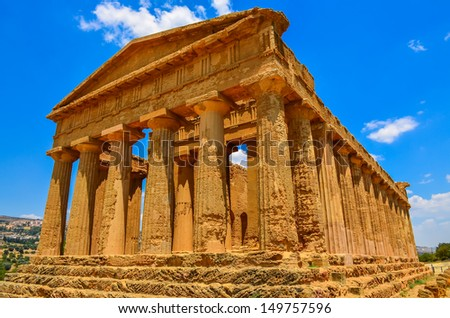 Ruins of ancient temple in Agrigento, Sicily, Italy - stock photo