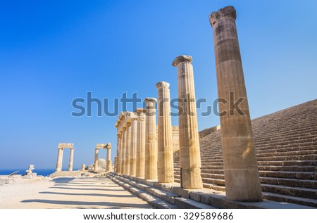 Ruins of ancient temple in Lindos, Rhodes - stock photo