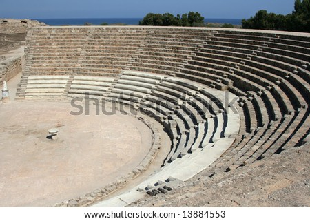 Ruins of ancient theater in town Salamis, Northern Cyprus - stock photo