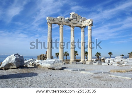 Ruins of Apollo temple in Side near Antalya, Turkey - stock photo
