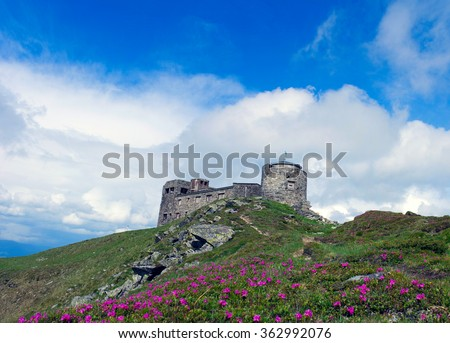 Ruins of astronomical observatory called White Elephant in Czarnohora Mountains, Carpathian Mountains, Ukraine - stock photo