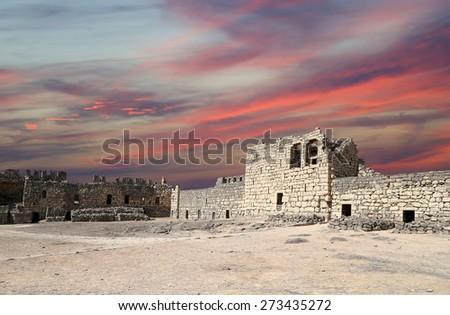 Ruins of Azraq Castle,  central-eastern Jordan, 100 km east of Amman - stock photo