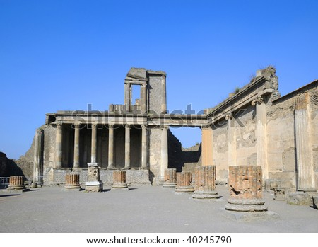 Ruins of beautiful temple in Pompeii Scavi, Campania, Italy