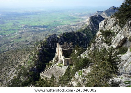 Ruins of Buffavento castle in North Cyprus                                - stock photo