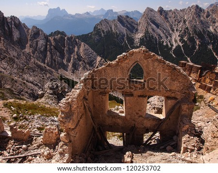ruins of building from I World War, Dolomites Italy - stock photo