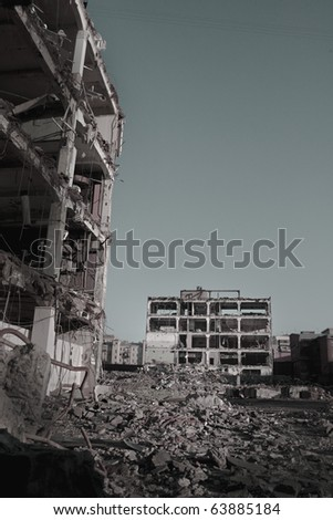 Ruins of buildings - stock photo