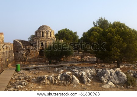 Ruins of Byzantine church of rotonda in the Ottoman fortress in Alanya (Turkey)