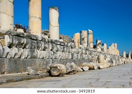 ruins of columns from the city of Ephesus in Kusadasi, Turkey - stock photo