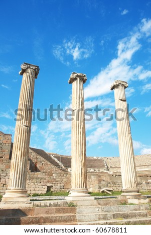 Ruins of columns in Asklepion in ancient city of Bergama, Turkey