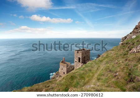 Ruins of copper mines on the South West Coast Path at Botallack in the far west of Cornwall