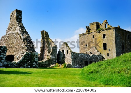 Ruins of Dunnotar castle, Scotland on the beauty summer day - stock photo