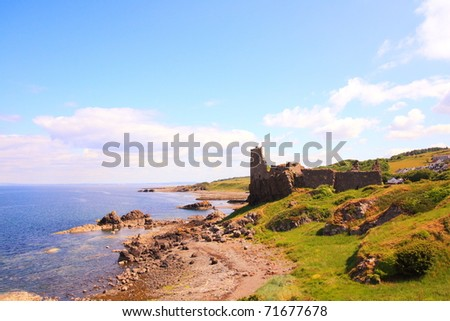 Ruins of Dunure Castle, Ayrshire, Scotland - stock photo