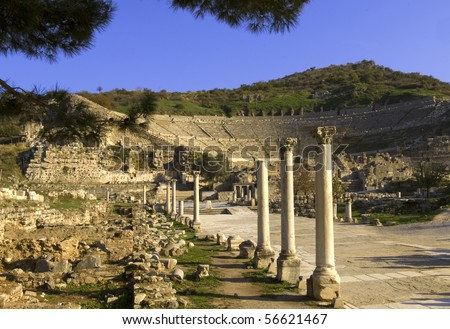Ruins of Ephesus, Turkey with Greek theater in the background - stock photo