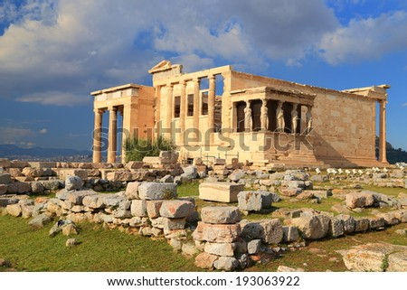 Ruins of Erechtheion on the North side of Athens Acropolis, Greece