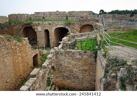 Ruins of fortress in Famagusta, North Cyprus                                - stock photo