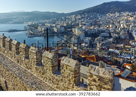 Ruins of fortress in Kavala, East Macedonia and Thrace, Greece - stock photo