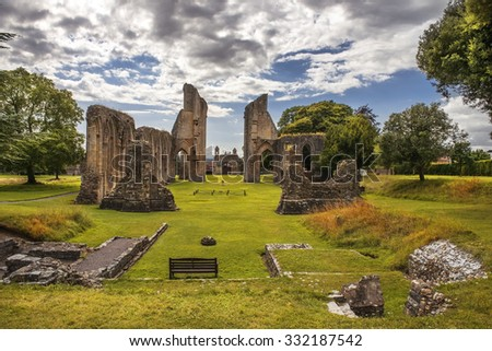 ruins of Glastonbury Abbey, was a monastery in Glastonbury, Somerset, England - stock photo