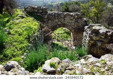 Ruins of greek orthodox church near Nicosia, North Cyprus                                - stock photo