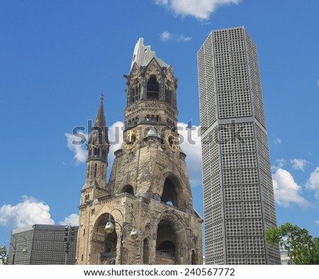 Ruins of Kaiser Wilhelm Memorial Church in Berlin, destroyed by Allied bombing and preserved as memorial - stock photo