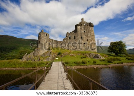 Ruins of Kilchurn Castle on Loch Awe in Scotland - stock photo