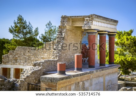 Ruins of Knossos Palace at Crete, Greece
