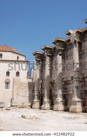Ruins of Library of Hadrian in the Roman Agora in Athens, Greece
