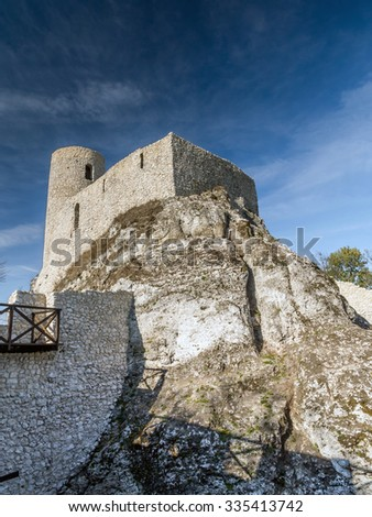 Ruins of medieval castle Smolen, near Pilica. located on the Trail of the Eagles' Nest within the Krakow-Czestochowa Upland, Poland - stock photo