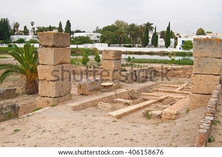 Ruins of military port in Carthage, Tunisia