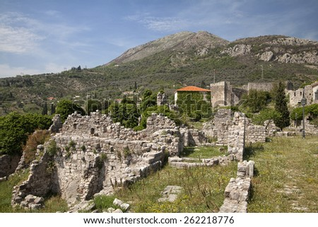 Ruins of Old Bar (Stary Bar), Montenegro - stock photo