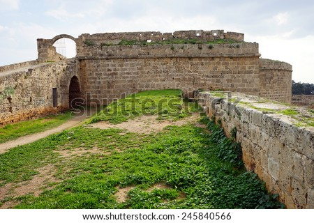 Ruins of old fortress in Famagusta, North Cyprus                                - stock photo