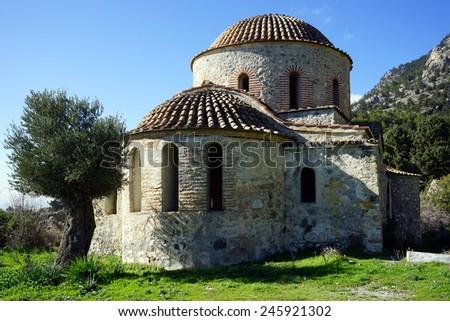 Ruins of old greek orthodox churh near Nicosia, North Cyprus                                 - stock photo