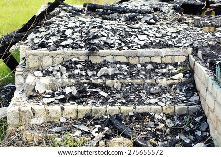 Ruins of old house - stock photo