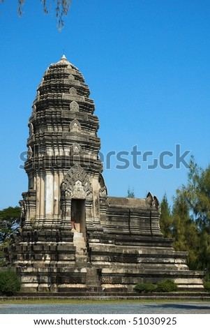 Ruins of old khmer Buddhism temple the most famous place in Cambodia.