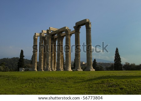 Ruins of Olympia temple in Athens, Greece - stock photo