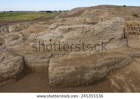 Ruins of Otrar (Utrar or Farab), Central Asian ghost town, South Kazakhstan Province, Kazakhstan. Otrar was a large and important settlement located along the Silk Road.