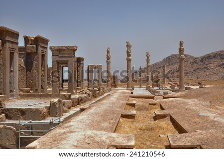 Ruins of palace in persian capital Persepolis in current Iran - stock photo