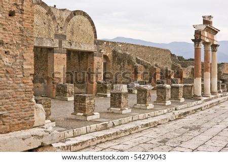 Ruins of Pompeii - stock photo