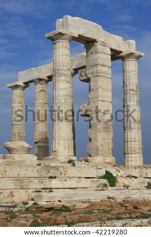 Ruins of Poseidon Temple at Cape Sounion near Athens, Greece - stock photo