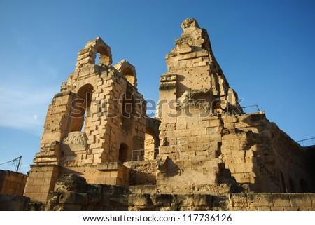 Ruins of Roman Arena. Ruins of roman biggest amphitheater in africa in El Djam, Tunisia - stock photo